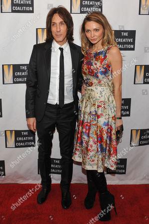 Warren Tricomi and Gia Skova arrive at the Creative Coalition Inaugural Ball, in Washington