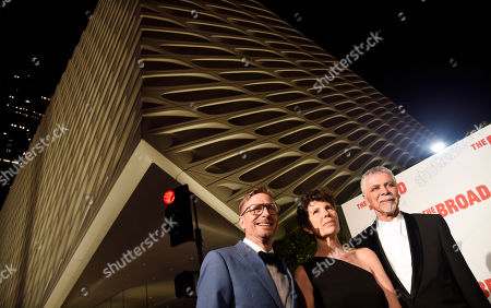 Charles Renfro, left, Elizabeth Diller, center, and Ricardo Scofidio, the design team behind The Broad museum, pose together at the museum's opening and inaugural dinner, in Los Angeles