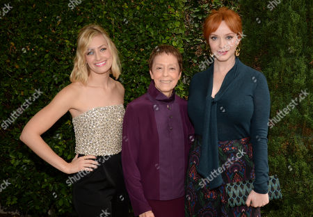 Beth Behrs, left to right, Gail Abarbanel, director of the Rape Treatment Center, and Christina Hendricks seen at The Rape Foundation Annual Brunch, in Beverly Hills, Calif