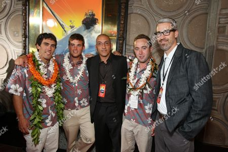 """OCTOBER 07: Mark Towill, Kit Will, Co-Producer/Editor Paul Crowder, Chris Welch and Director/Co-Writer Mark Monroe at The World Premiere of Walt Disney Pictures' """"Morning Light"""" on at the El Capitan Theatre in Hollywood, CA"""