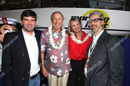 """OCTOBER 07: Producer Morgan Sackett, Exec. Producer Roy E. Disney, Exec. Producer Leslie DeMeuse and Director/Co-Writer Mark Monroe at The World Premiere of Walt Disney Pictures' """"Morning Light"""" on at the El Capitan Theatre in Hollywood, CA"""