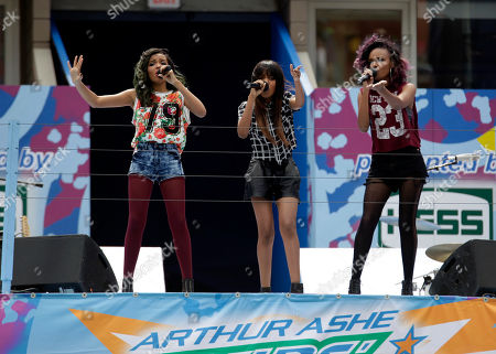 From left, recording artists Lauryn McClain, China McClain and Sierra McClain perform at US Open Arthur Ashe Kids Day at the USTA Billie Jean King National Tennis Center on in New York