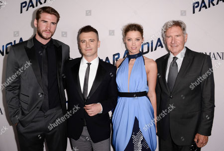 "From left to right, Actor Liam Hemsworth, director Robert Luketic, actress Amber Heard, and actor Harrison Ford arrive on the red carpet at the US premiere of the feature film ""Paranoia"" at the DGA Theatre on in Los Angeles"