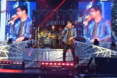 Spencer Smith, left, and Brendon Urie of Panic! At The Disco perform at Bayfront Park Amphitheater, in Miami