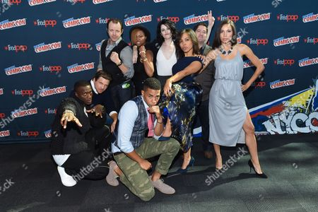 "From left, Aldis Hodge, Marc Blucas, PJ Marshall, Misha Green, Alano Miller, Jessica DeGouw, Amirah Vann, Joe Pokaski, and Jurnee Smollett-Bell are seen at WGN America's ""Underground"" New York Comic Con, on in New York"