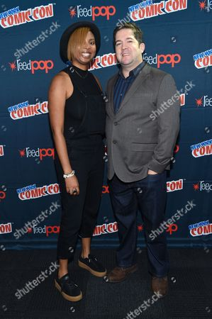 "Joe Pokaski, right, and Misha Green are seen at WGN America's ""Underground"" New York Comic Con, on in New York"