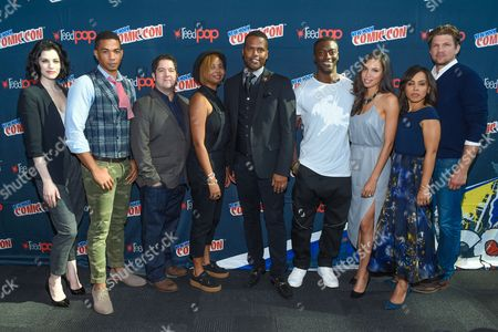 "From left, Jessica DeGouw, Alano Miller, Joe Pokaski, Misha Green, AJ Calloway, Aldis Hodge, Jurnee Smollett-Bell, Amirah Vann, and Marc Blucas are seen at WGN America's ""Underground"" New York Comic Con, on in New York"