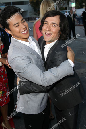"""Josh Brener, right, and Tobit Raphael pose together at the world premiere of """"The Internship"""" at the Regency Village Westwood on in Los Angeles"""