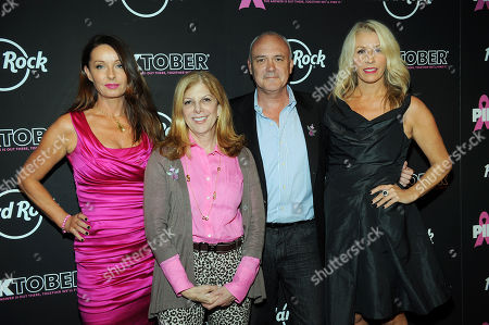Left to right) Keren Woodward of Bananarama, Director of Communications for The Breast Cancer Research Foundation Anna DeLuca, CEO of Hard Rock International Hamish Dodds, and Sara Dallin of Bananarama, arrive at the 13th Annual Pinktober Breast Cancer Awareness Campaign, on at Hard Rock Cafe, New York