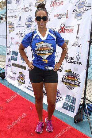 TV personality Gloria Govan-Barnes attends the 1st Annual Athletes vs. Cancer Celebrity Flag Football game at the Palisades High School on in Pacific Palisades, Calif
