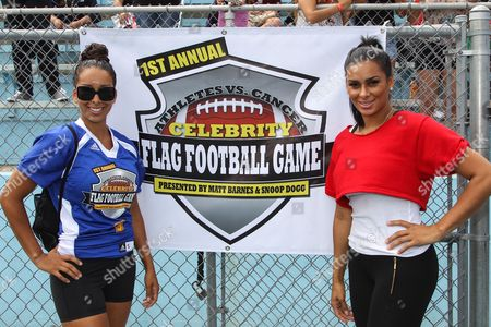 From left, TV personalities Gloria Govan-Barnes and Laura Govan attend the 1st Annual Athletes vs. Cancer Celebrity Flag Football game at the Palisades High School on in Pacific Palisades, Calif