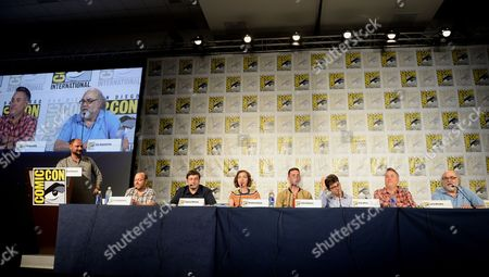 "From left, creator/executive producer Loren Bouchard, actors H. Jon Benjamin, Eugene Mirman, Kristen Schaal, John Roberts, Dan Mintz, Larry Murphy and executive producer Jim Dauterive attend the FOX ""Bob's Burgers"" panel on Day 3 of Comic-Con International on in San Diego, Calif"
