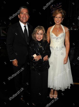 EXCLUSIVE - From left, Television Academy Chairman & CEO, Bruce Rosenblum, June Foray and Yeardley Smith attend the 2013 Primetime Creative Arts Emmy Awards, on at Nokia Theatre L.A. Live, in Los Angeles, Calif