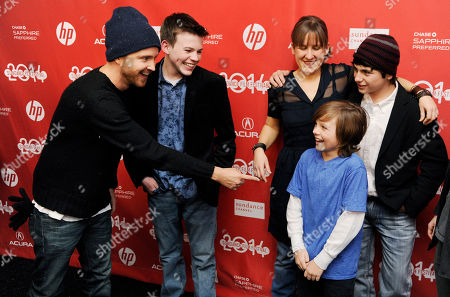 "Deke Garnor, Dylan Cole Aaron Paul, left, a cast member in ""Hellion,"" points to fellow cast member Deke Garner as, from second left, cast member Josh Wiggins, writer-director Kat Candler and cast member Camron Owens look on at the premiere of the film at the 2014 Sundance Film Festival, in Park City, Utah"