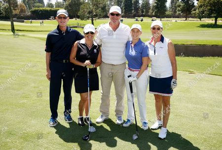 Jerry Petry, from left, Kate Freeman, Brett Cullen, Maureen Hosp, and Kathy Hannan are seen at the 16th Emmys Golf Classic presented by the Television Academy Foundation at the Wilshire Country Club on in Los Angeles
