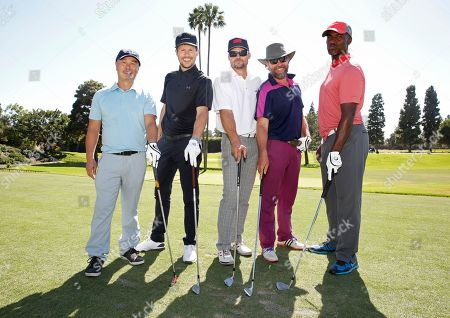 C. S. Lee, from left, Jason Dundas, Bailey Chase, John Pyper-Ferguson and Charles Parnell are seen at the 16th Emmys Golf Classic presented by the Television Academy Foundation at the Wilshire Country Club on in Los Angeles
