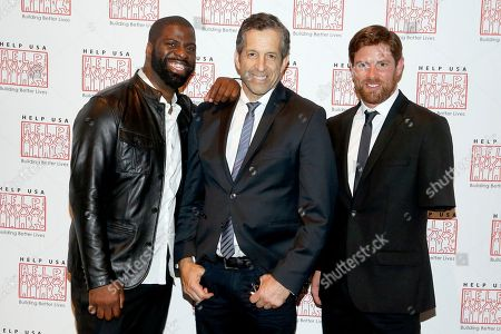 """From left, Rapper Che """" Rhymefest"""" Smith, designer Kenneth Cole, and disabled Iraq veteran and Dancing With the Stars finalist Noah Galloway attend the 2015 Help USA Hero Awards Dinner at Cipriani 42nd Street on Thurs., in New York City"""