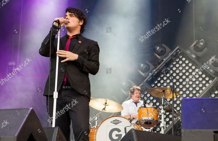 On left, Gerard Way performs with his band at the Voodoo Music Experience, in New Orleans