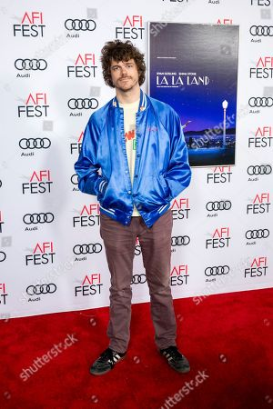 """Andre Hyland arrives at the 2016 AFI Fest screening of """"La La Land"""" at the TCL Chinese Theatre, in Los Angeles. Photo by Willy Sanjuan/Invision/AP"""