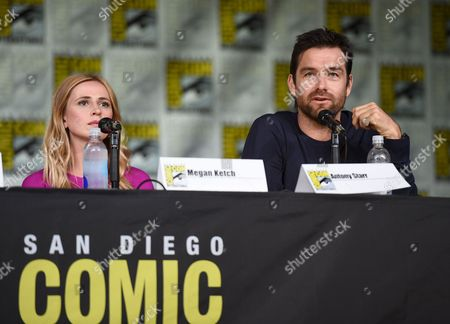 """Stock Picture of Megan Ketch, left, and Antony Starr attend the """"American Gothic"""" panel on day 1 of Comic-Con International, in San Diego"""