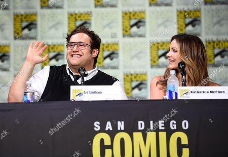 "Stock Photo of Ari Stidham, left, and Katharine McPhee, attend the ""Scorpion"" panel on day 1 of Comic-Con International, in San Diego"