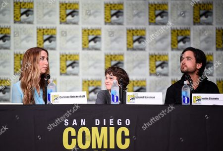 """Corinne Brinkerhoff, from left, Gabriel Bateman and Justin Chatwin attend the """"American Gothic"""" panel on day 1 of Comic-Con International, in San Diego"""