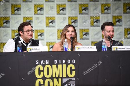 "Ari Stidham, from left, Katharine McPhee, and Eddie Kaye Thomas attend the ""Scorpion"" panel on day 1 of Comic-Con International, in San Diego"