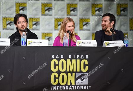 """Justin Chatwin, from left, Megan Ketch and Antony Starr attend the """"American Gothic"""" panel on day 1 of Comic-Con International, in San Diego"""