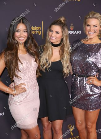 Manuela Arbelaez, from left, Amber Lancaster, and Rachel Reynolds attend the 2016 Daytime Peer Group Celebration presented by the Television Academy at their Saban Media Center, in North Hollywood, Calif