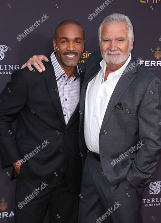 Donnell Turner, left, and John McCook arrive at the 2016 Daytime Peer Group Celebration presented by the Television Academy at their Saban Media Center, in North Hollywood, Calif