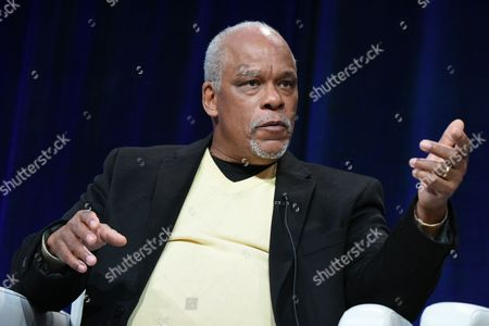 """Director Stanley Nelson Jr. participates in """"The Black Panthers"""" panel at the PBS Winter TCA on Tuesday, Jan.19, 2016, in Pasadena, Calif"""