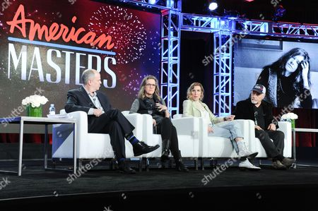 "Michael Kantor, from left, Laura Joplin, Amy Berg and Dave Getz participate in the ""Janis: Little Girl Blue"" panel at the PBS Winter TCA on Tuesday, Jan.19, 2016, in Pasadena, Calif"