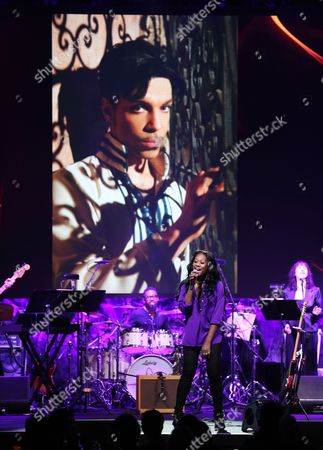 "Priscilla Renea performs Prince's ""Purple Rain"" during an In Memoriam tribute at the 33rd annual ASCAP Pop Music Awards at the Dolby Ballroom, in Los Angeles"