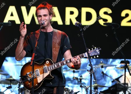 Stock Image of James the Human performs a medley of Max Martin songs at the 33rd annual ASCAP Pop Music Awards at the Dolby Ballroom, in Los Angeles
