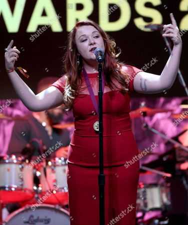 """Stock Image of Audra Mae performs """"Heartbeat Song"""" at the 33rd annual ASCAP Pop Music Awards at the Dolby Ballroom, in Los Angeles"""