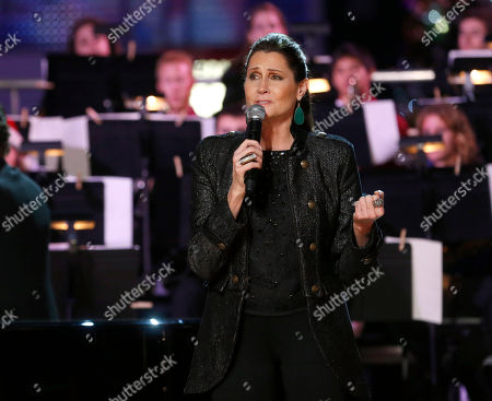 Stock Image of Monica Mancini performs at the 5th annual Holiday Tree Lighting at L.A. Live and opening of LA Kings Holiday Ice, in Los Angeles