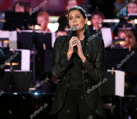 Stock Picture of Monica Mancini performs at the 5th annual Holiday Tree Lighting at L.A. Live and opening of LA Kings Holiday Ice, in Los Angeles