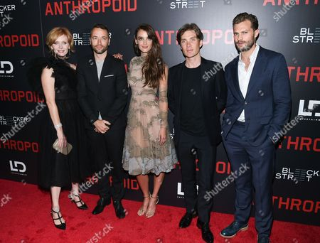 """Actress Ana Geislerova, left, director Sean Ellis, actress Charlotte Le Bon, actor Cillian Murphy and actor Jamie Dornan attend the premiere of """"Anthropoid"""" at AMC Loews Lincoln Square, in New York"""