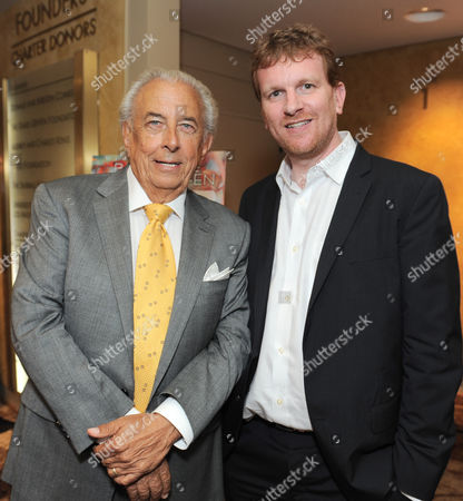 Frank Mancuso, chairman, board of directors of Geffen Playhouse, left, and Gil Cates Jr. attend the Backstage at the Geffen gala at the Geffen Playhouse, in Los Angeles