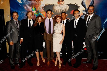 Stock Picture of From left, Bill Damaschke, Hamish Grieve, producer Christina Steinberg, actor Chris Pine, actress Isla Fisher, director Peter Ramsey, composer Alexandre Desplat and production designer Patrick Hanenberger are seen at the Rise of the Guardians premiere in Leicester square, in London