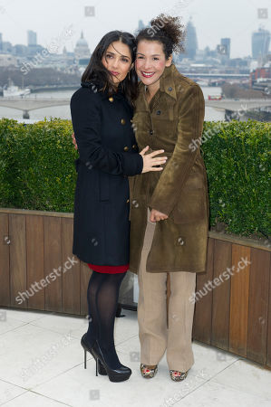 Salma Hayek and Mariane Pearl at the Chime For Change photocall at the Corinthia Hotel in London