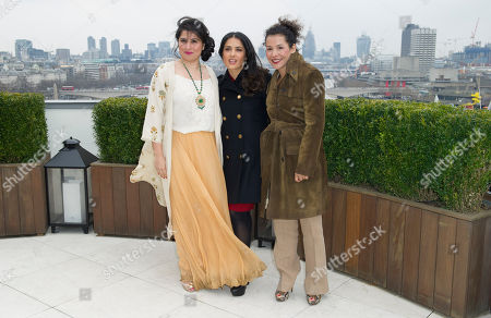 Sharmeen Obain-Chinoy, Salma Hayek and Mariane Pearl at the Chime For Change photocall at the Corinthia Hotel in London