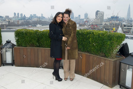 Stock Photo of Salma Hayek and Mariane Pearl at the Chime For Change photocall at the Corinthia Hotel in London