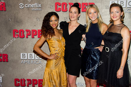 """Tessa Thompson, from left to right, Franka Potente, Anastasia Griffith and Tanya Fischer attend the premiere of BBC America's """"Copper"""" on in New York"""