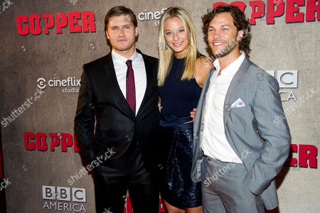 """Tom Weston-Jones, left, Anastasia Griffith and Kyle Schmid attend the premiere of BBC America's """"Copper"""" on in New York"""