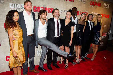 """Tessa Thompson, from left to right, Dylan Taylor, Kyle Schmid, Tom Weston-Jones, Franka Potente, Ato Essandoh, Tanya Fischer, Kevin Ryan, Anastasia Griffith attend the premiere of BBC America's """"Copper"""" on in New York"""