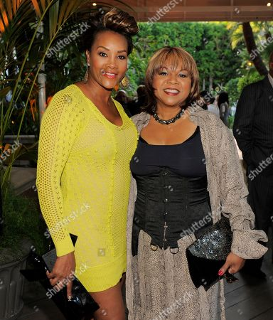 Actress Vivica A. Fox, left, and singer Deniece Williams pose together at the Entertainment Studios' Daytime Emmy and series launch party at the Four Seasons Hotel on in Los Angeles