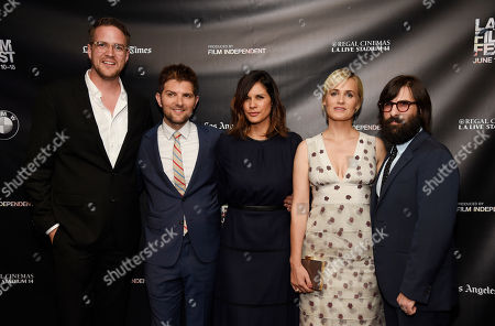 """Patrick Brice, far left, writer/director of """"The Overnight,"""" poses with, left to right, cast member Adam Scott, producer Naomi Scott and cast members Judith Godreche and Jason Schwartzman at the premiere of the film at the Los Angeles Film Festival, in Los Angeles"""