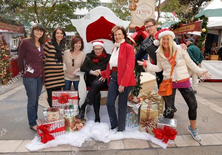 Jessica OBrien, Julie Wagner, Larry King, Vicki Reynolds, Beverly Hills Mayor Lili Bosse attend the Beverly Hills Holiday Bazaar, in Beverly Hills