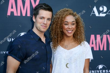 """Nick Jandl, left, and Chaley Rose arrives at the LA Premiere of """"Amy"""" at The Theater at Arclight Cinemas Hollywood, in Los Angeles"""